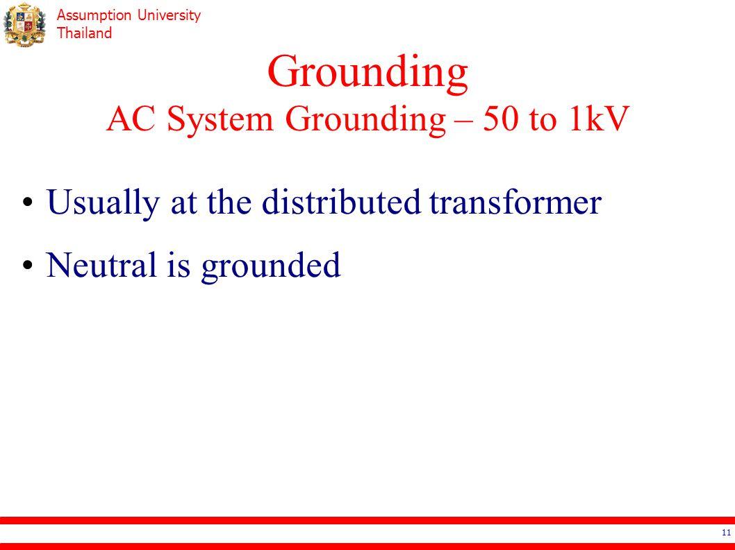 Grounding AC System Grounding – 50 to 1kV