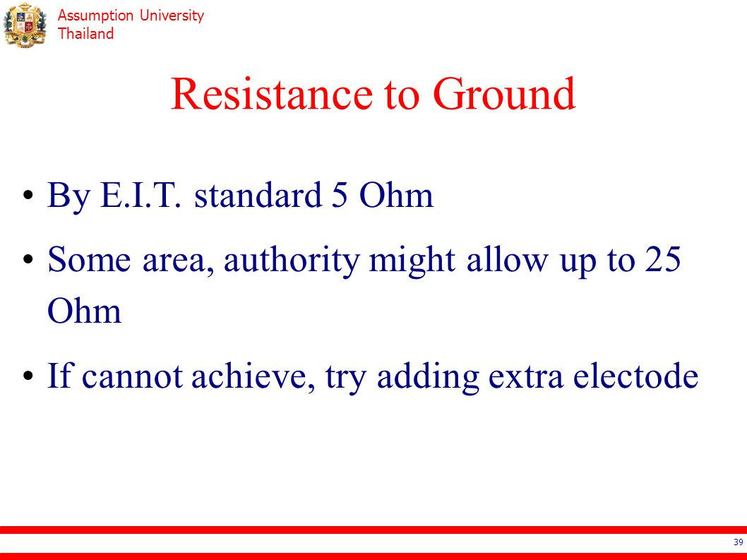 Resistance to Ground By E.I.T. standard 5 Ohm