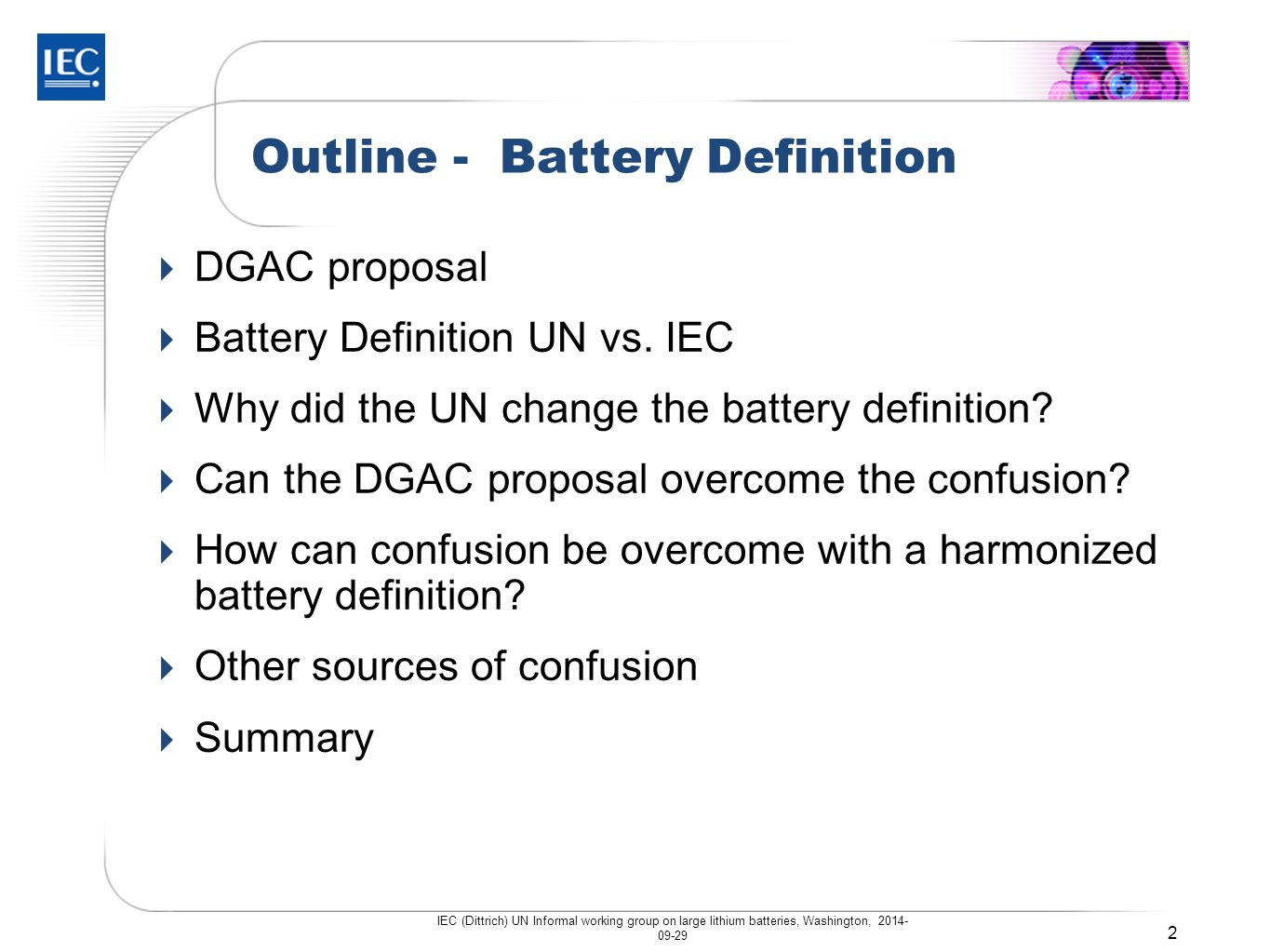 Outline - Battery Definition