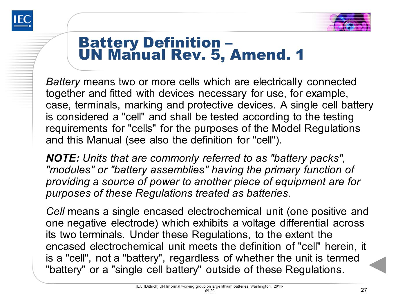 Battery Definition – UN Manual Rev. 5, Amend. 1
