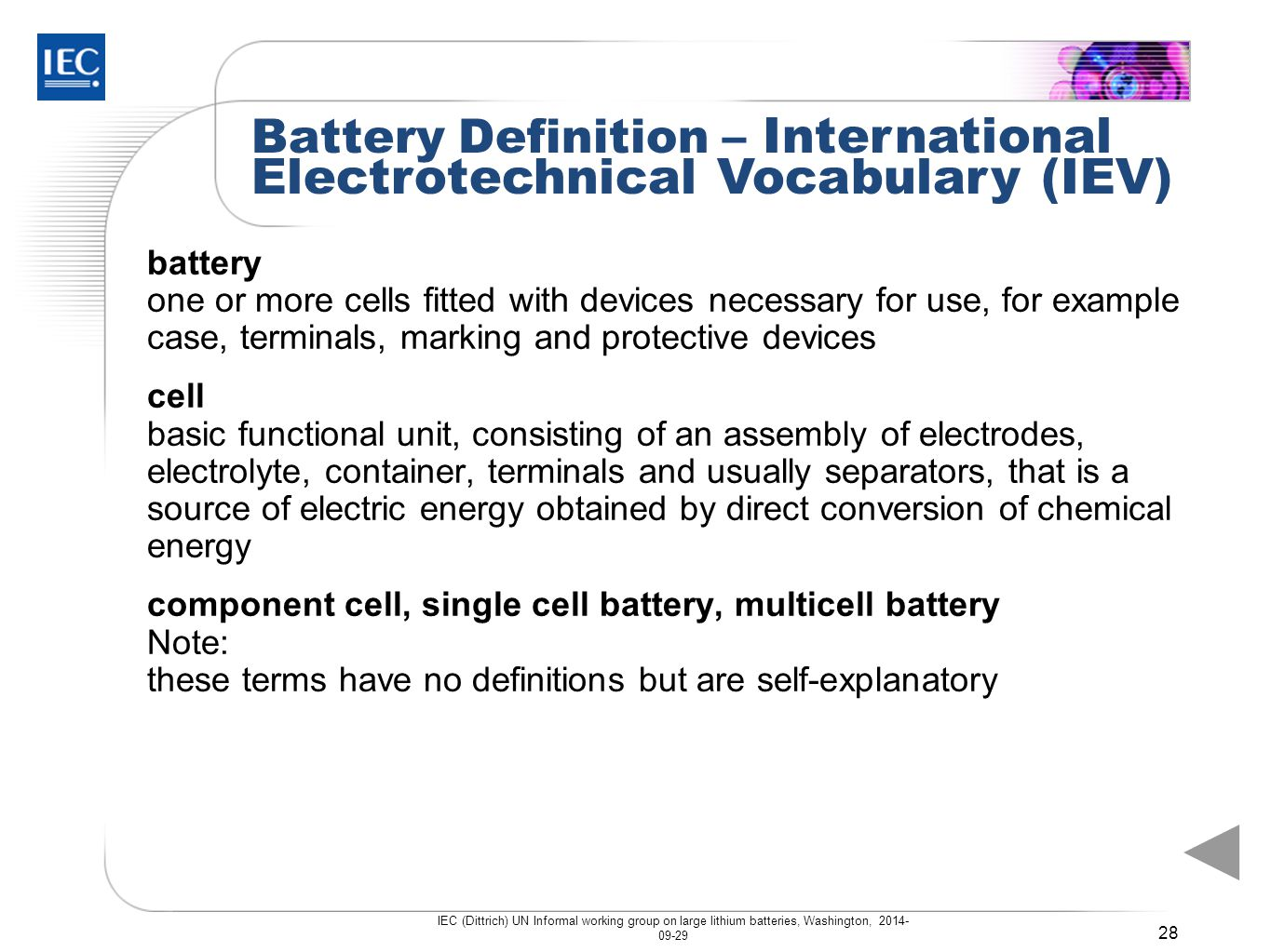Battery Definition – International Electrotechnical Vocabulary (IEV)