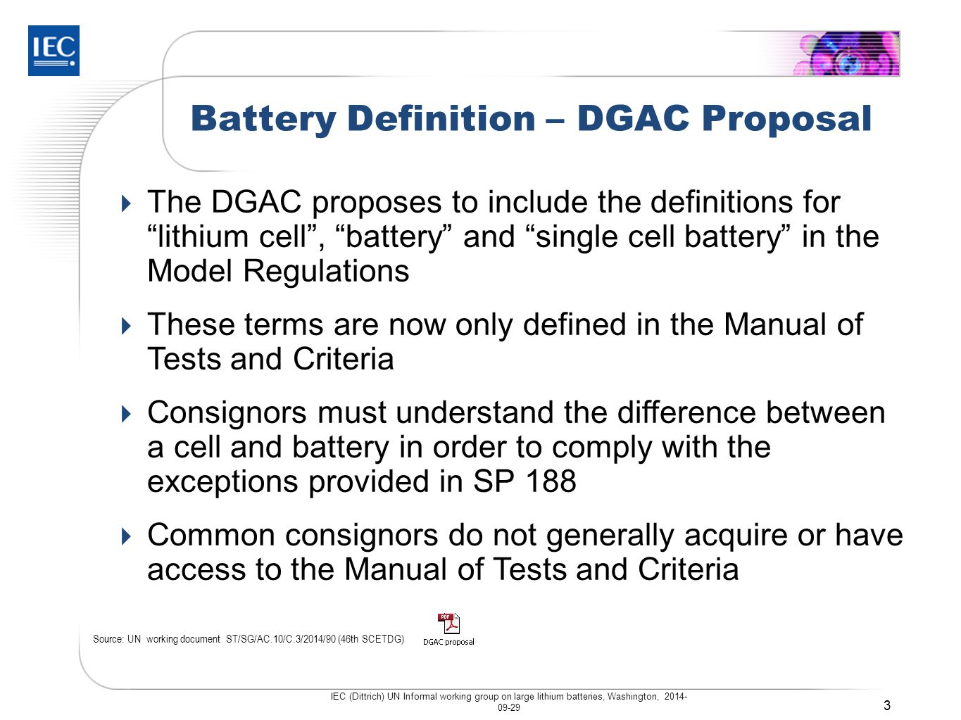 Battery Definition – DGAC Proposal