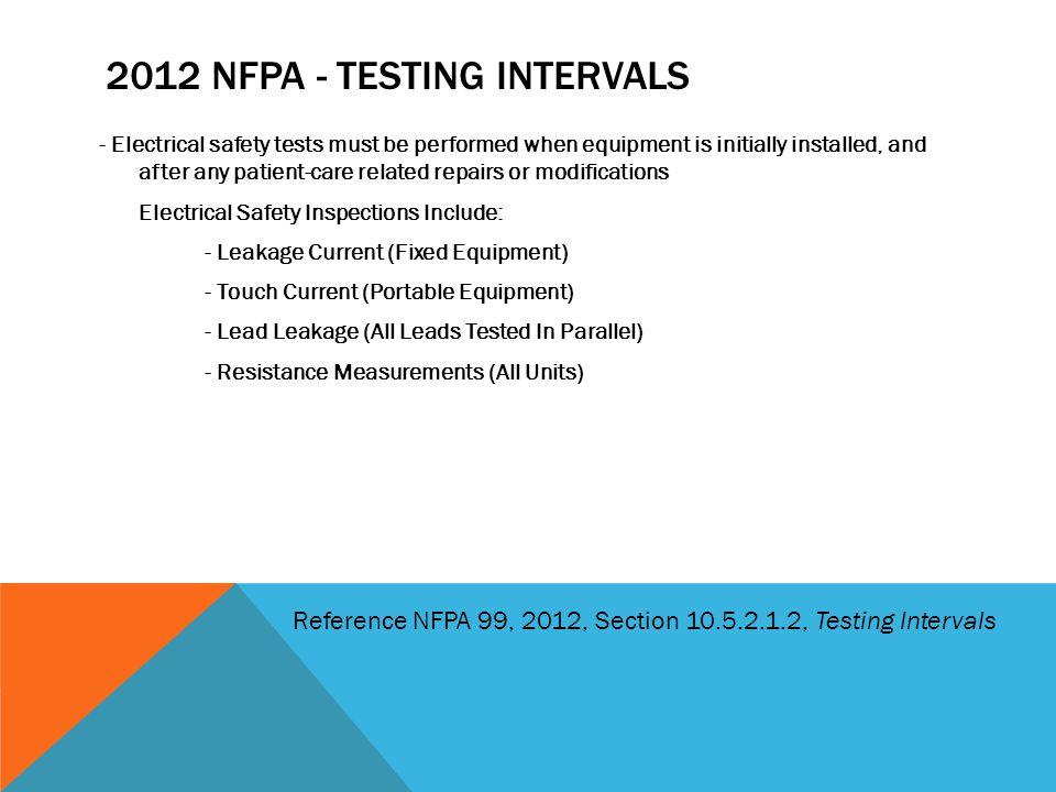 2012 NFPA - Testing Intervals