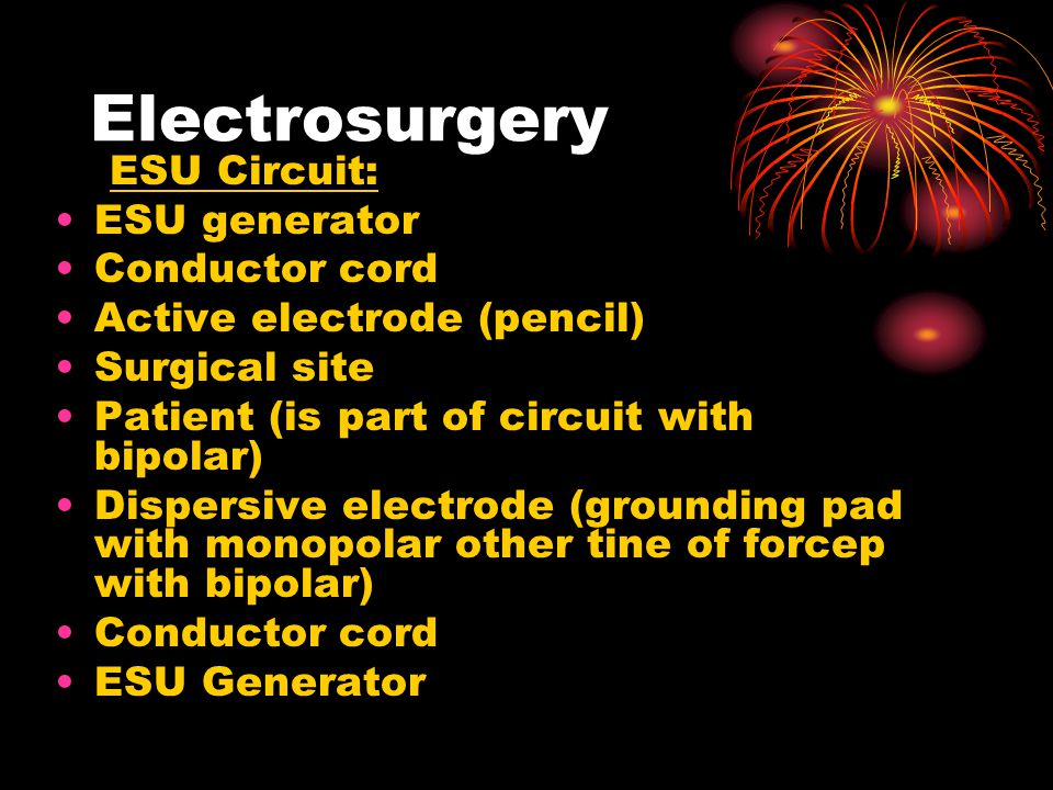 Electrosurgery ESU Circuit: ESU generator Conductor cord
