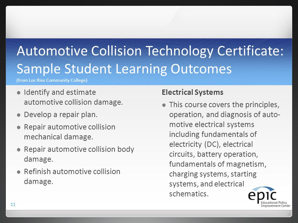 Automotive Collision Technology Certificate: Sample Student Learning Outcomes (from Los Rios Community College)