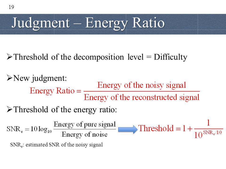 Judgment – Energy Ratio