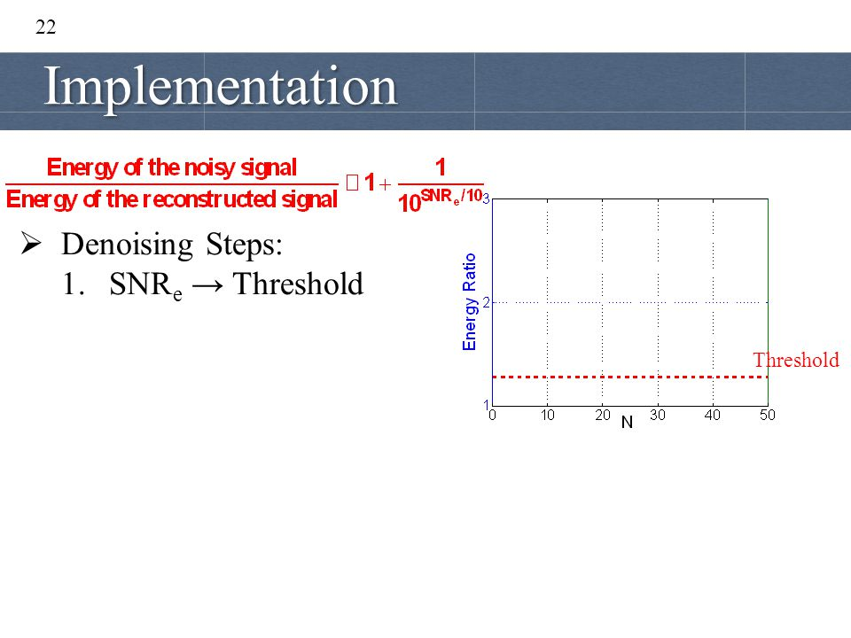 22 Implementation Denoising Steps: SNRe → Threshold Threshold