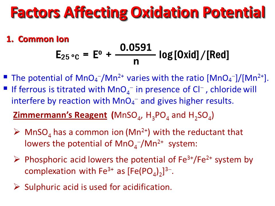 Factors Affecting Oxidation Potential