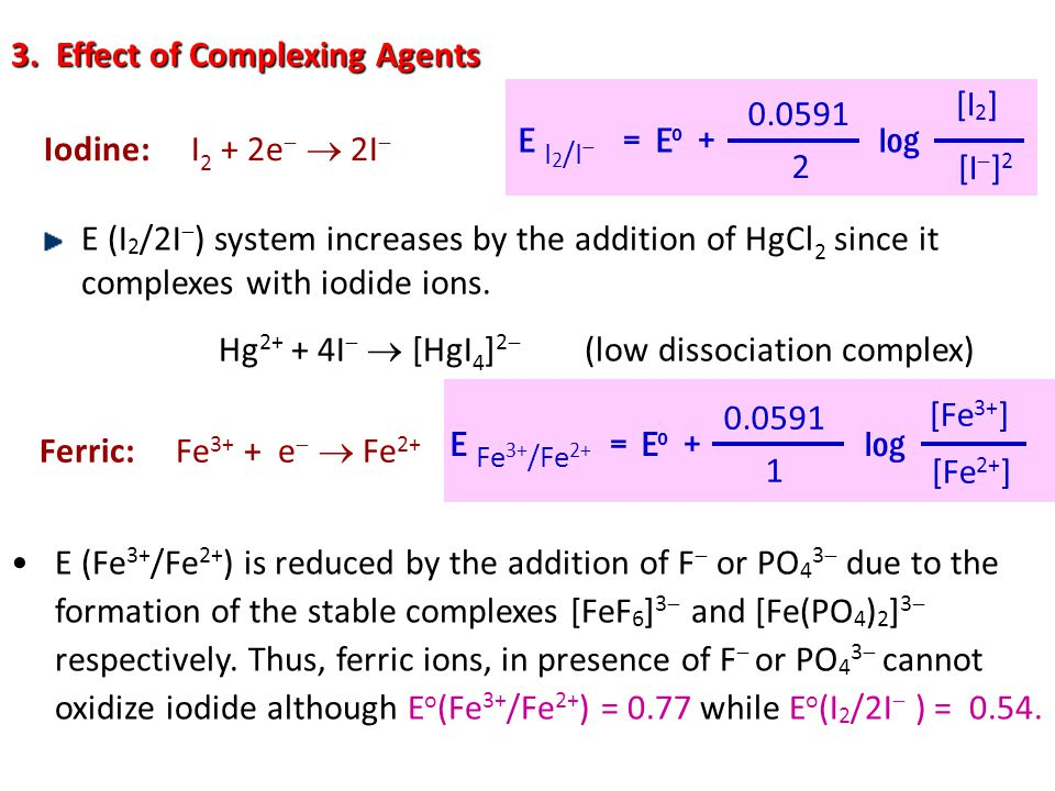 3. Effect of Complexing Agents