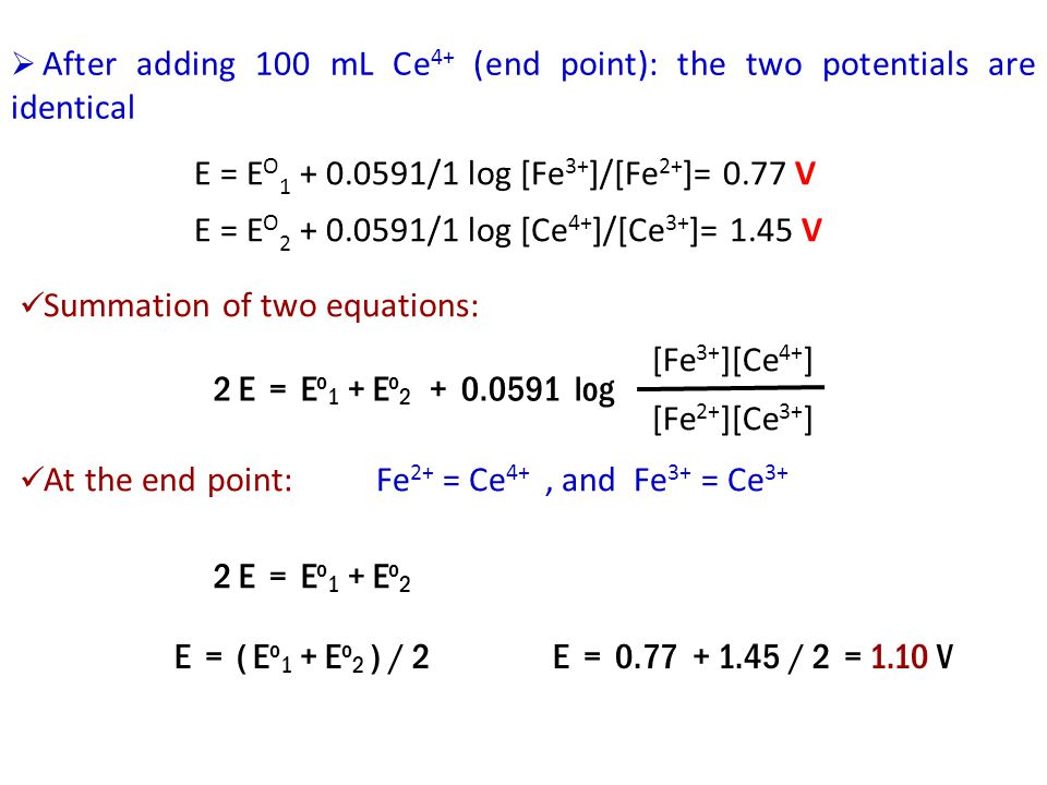 After adding 100 mL Ce4+ (end point): the two potentials are identical