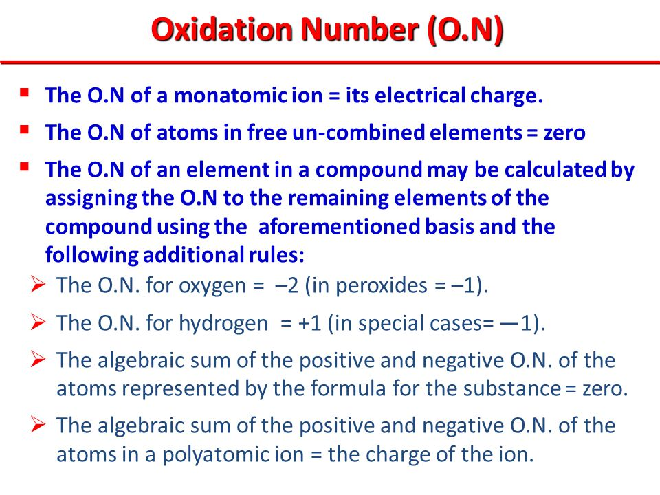 Oxidation Number (O.N) The O.N of a monatomic ion = its electrical charge. The O.N of atoms in free un-combined elements = zero.