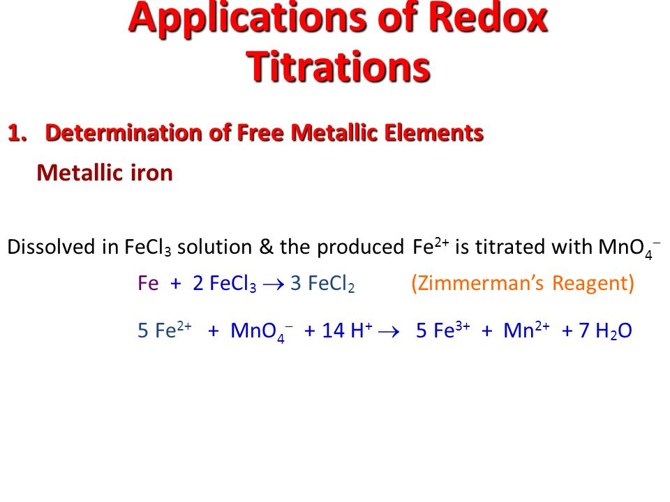 Applications of Redox Titrations