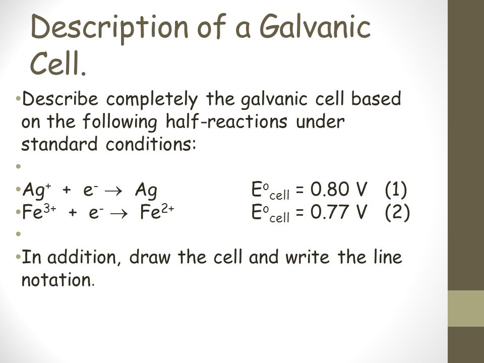 Description of a Galvanic Cell.