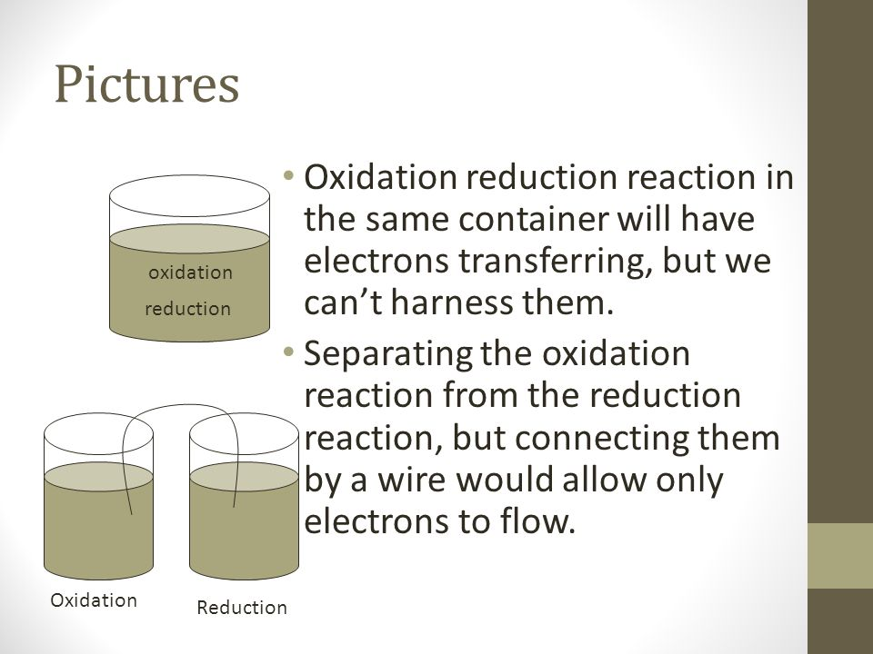 Pictures Oxidation reduction reaction in the same container will have electrons transferring, but we can't harness them.