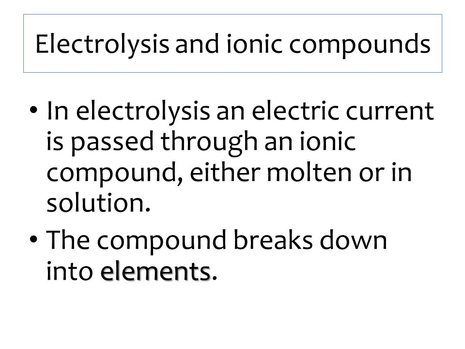 Electrolysis and ionic compounds