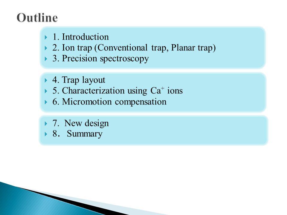 Outline 1. Introduction 2. Ion trap (Conventional trap, Planar trap)