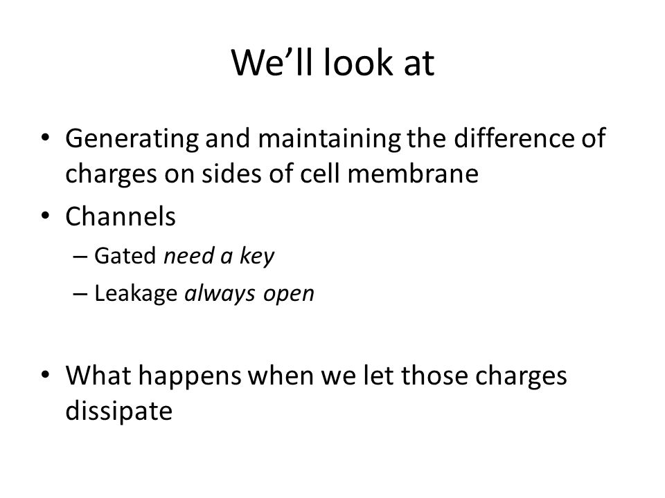 We'll look at Generating and maintaining the difference of charges on sides of cell membrane. Channels.