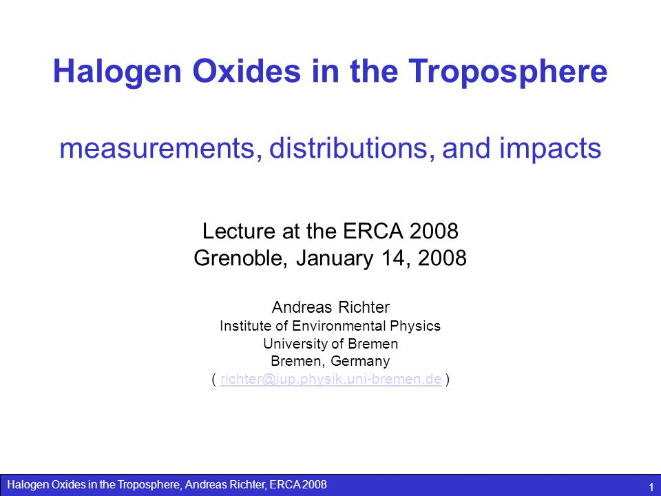 Halogen Oxides in the Troposphere