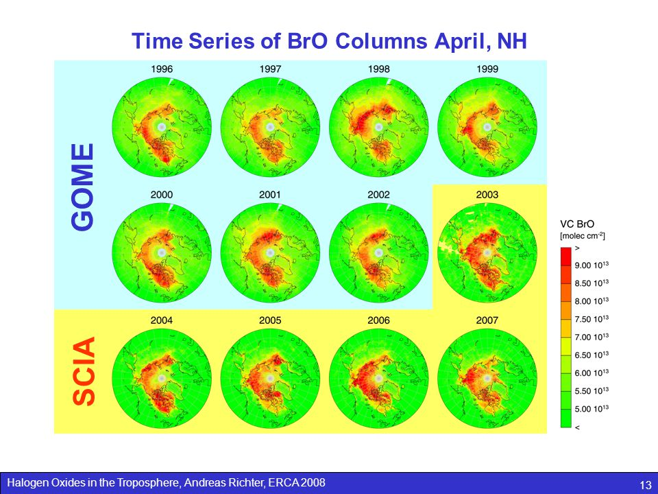 Time Series of BrO Columns April, NH