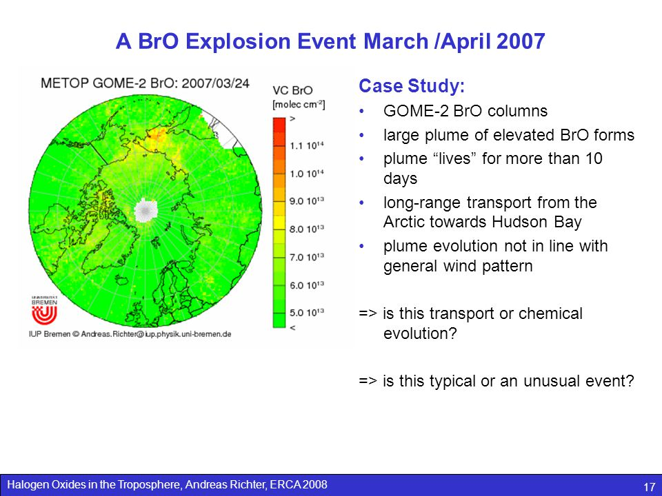 A BrO Explosion Event March /April 2007