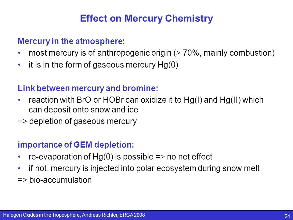 Effect on Mercury Chemistry