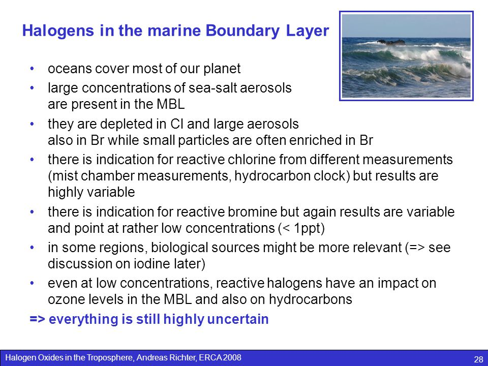 Halogens in the marine Boundary Layer