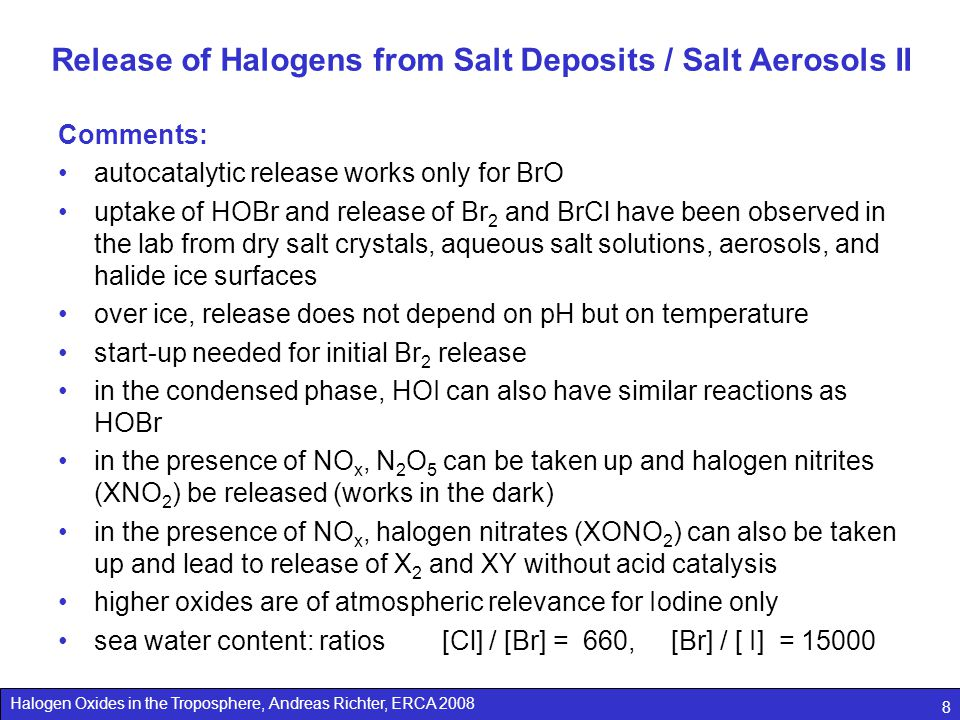 Release of Halogens from Salt Deposits / Salt Aerosols II