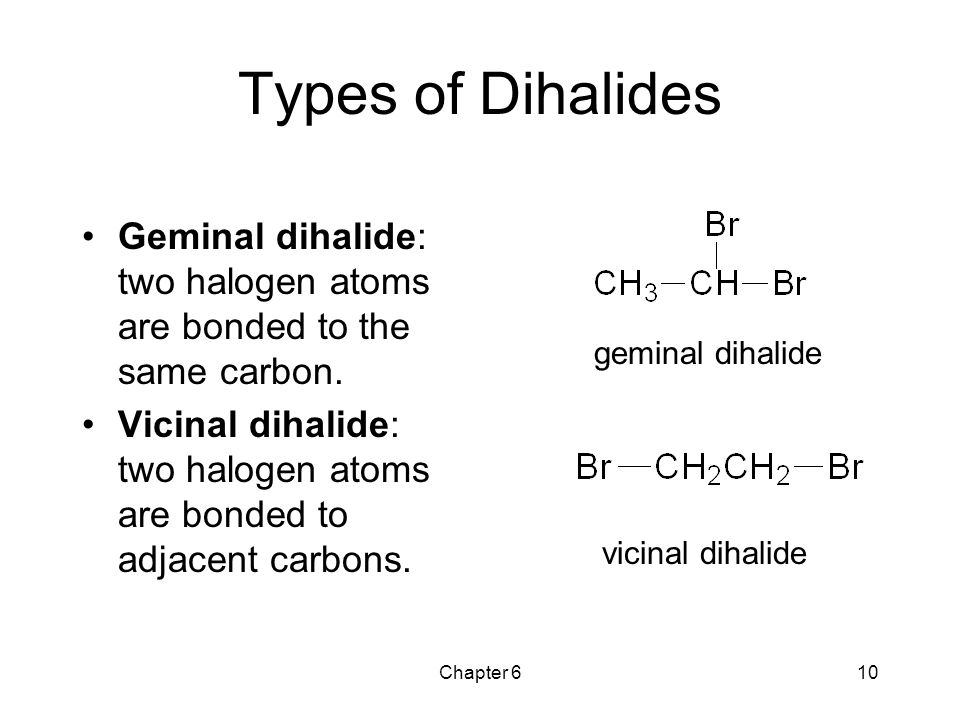 Types of Dihalides Geminal dihalide: two halogen atoms are bonded to the same carbon.