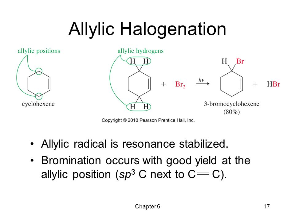 Allylic Halogenation Allylic radical is resonance stabilized.