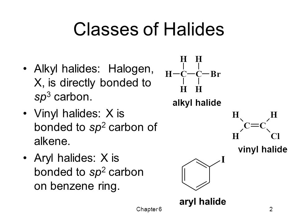 Classes of Halides C. H. B. r. alkyl halide. Alkyl halides: Halogen, X, is directly bonded to sp3 carbon.