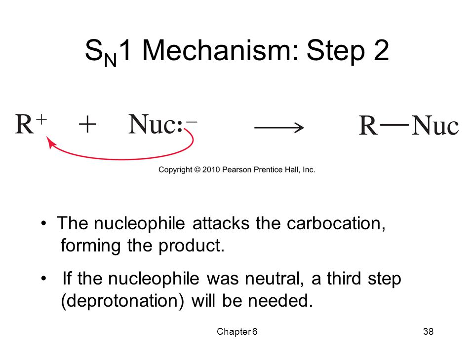 SN1 Mechanism: Step 2 The nucleophile attacks the carbocation, forming the product.