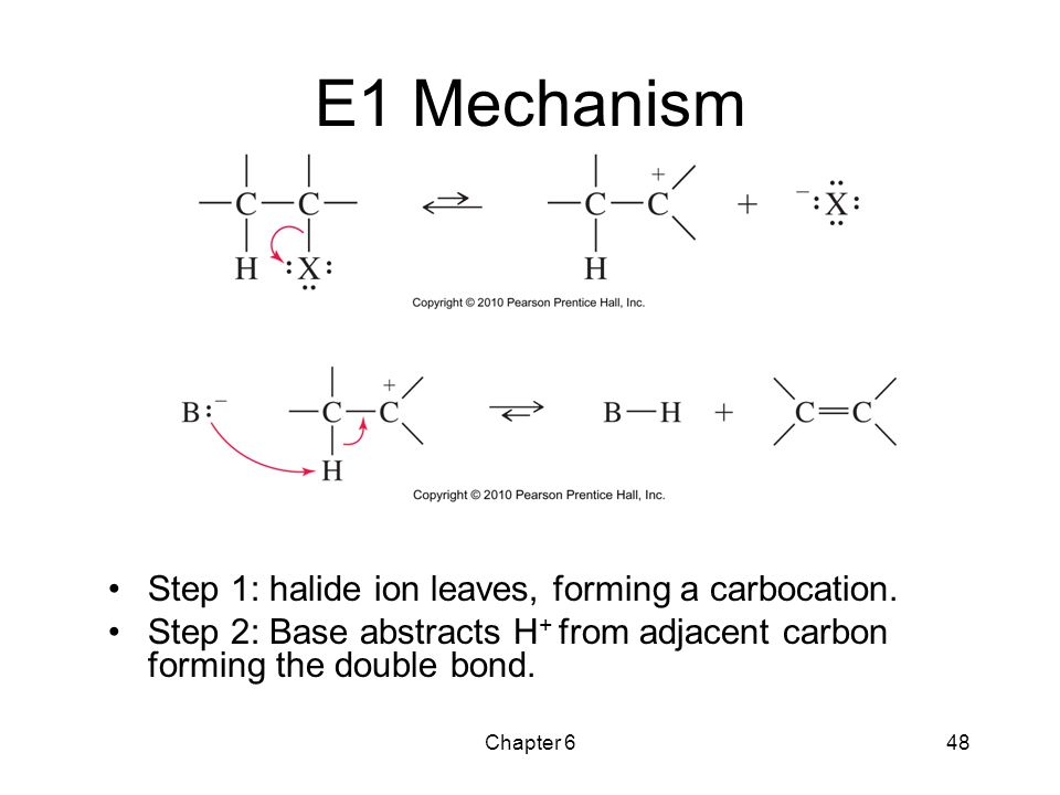 E1 Mechanism Step 1: halide ion leaves, forming a carbocation.