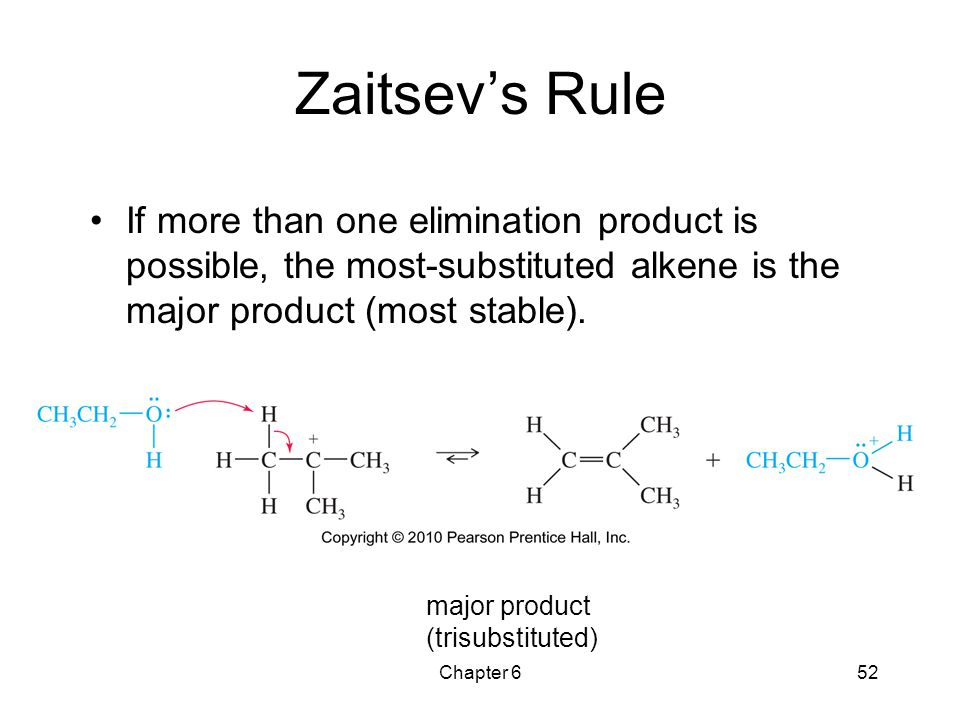 Zaitsev's Rule If more than one elimination product is possible, the most-substituted alkene is the major product (most stable).
