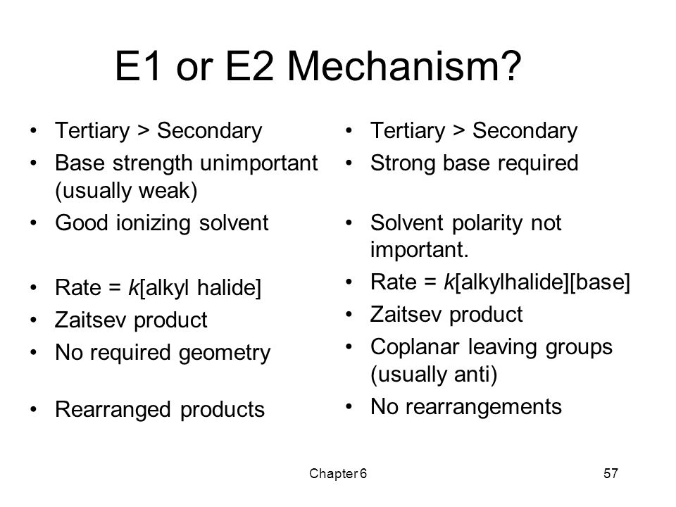E1 or E2 Mechanism Tertiary > Secondary