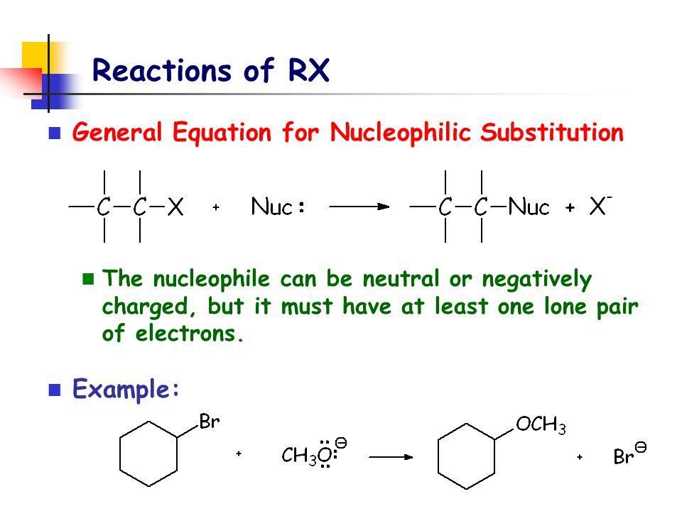 Reactions of RX General Equation for Nucleophilic Substitution