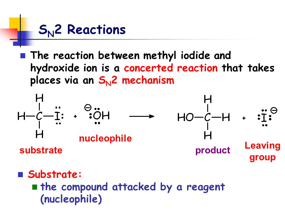 SN2 Reactions The reaction between methyl iodide and hydroxide ion is a concerted reaction that takes places via an SN2 mechanism.