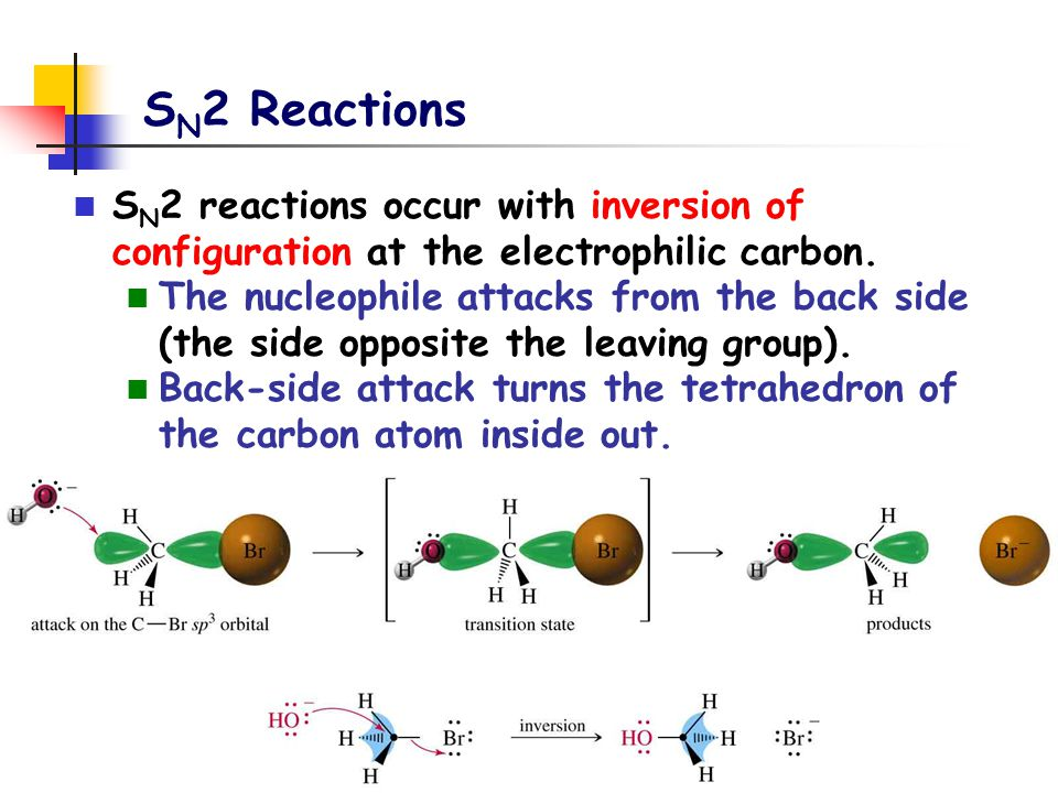 SN2 Reactions SN2 reactions occur with inversion of configuration at the electrophilic carbon.