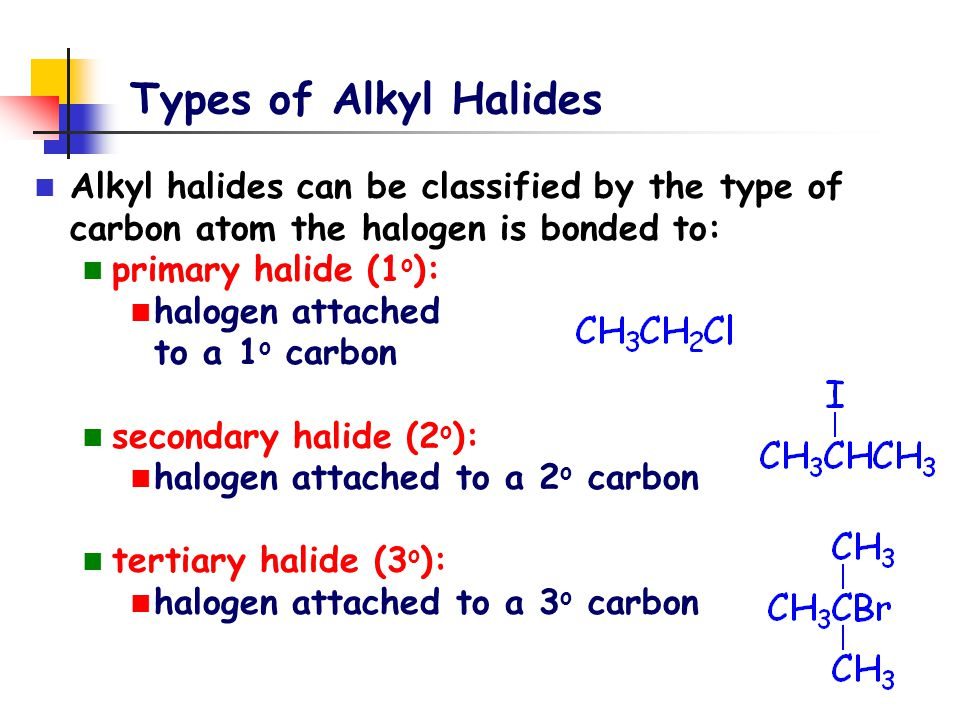 Types of Alkyl Halides Alkyl halides can be classified by the type of carbon atom the halogen is bonded to:
