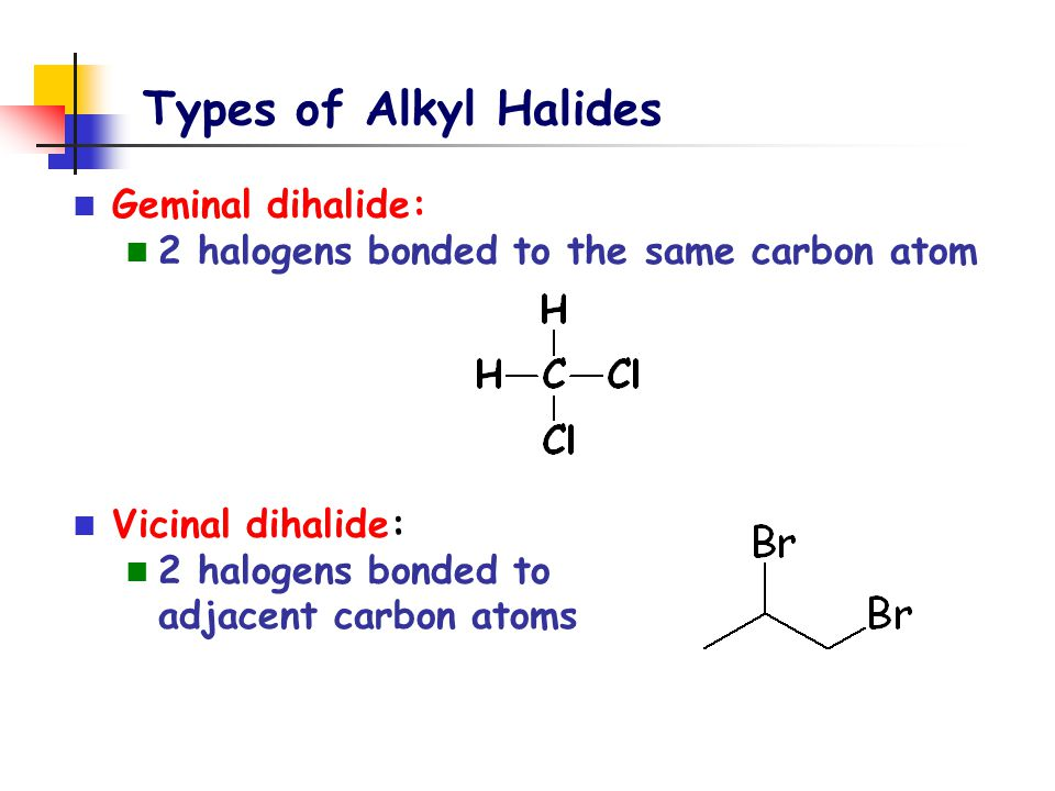 Types of Alkyl Halides Geminal dihalide: