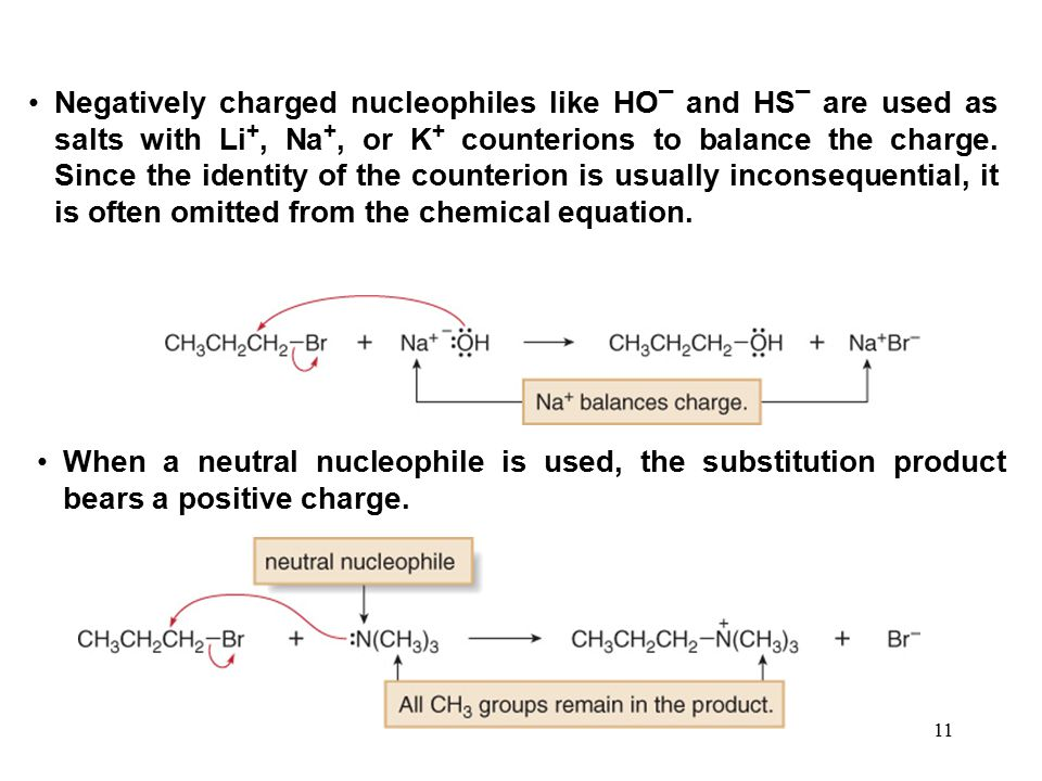 Negatively charged nucleophiles like HO¯ and HS¯ are used as salts with Li+, Na+, or K+ counterions to balance the charge. Since the identity of the counterion is usually inconsequential, it is often omitted from the chemical equation.