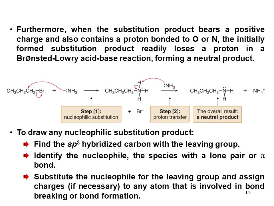 Furthermore, when the substitution product bears a positive charge and also contains a proton bonded to O or N, the initially formed substitution product readily loses a proton in a BrØnsted-Lowry acid-base reaction, forming a neutral product.
