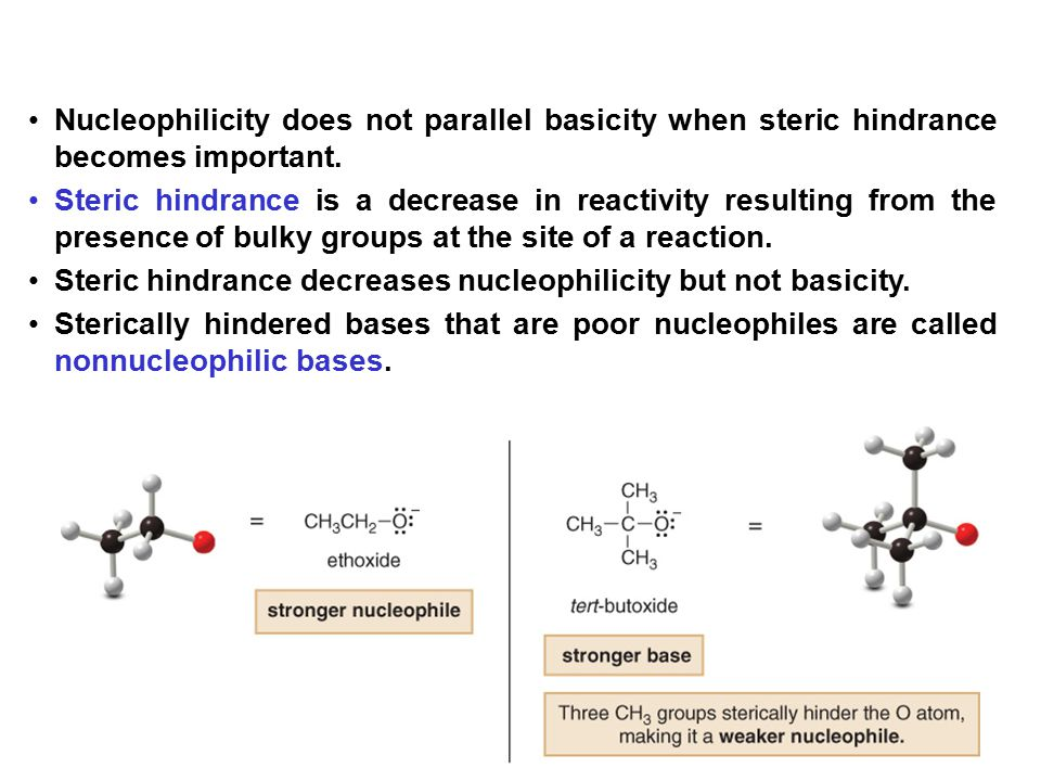 Nucleophilicity does not parallel basicity when steric hindrance becomes important.