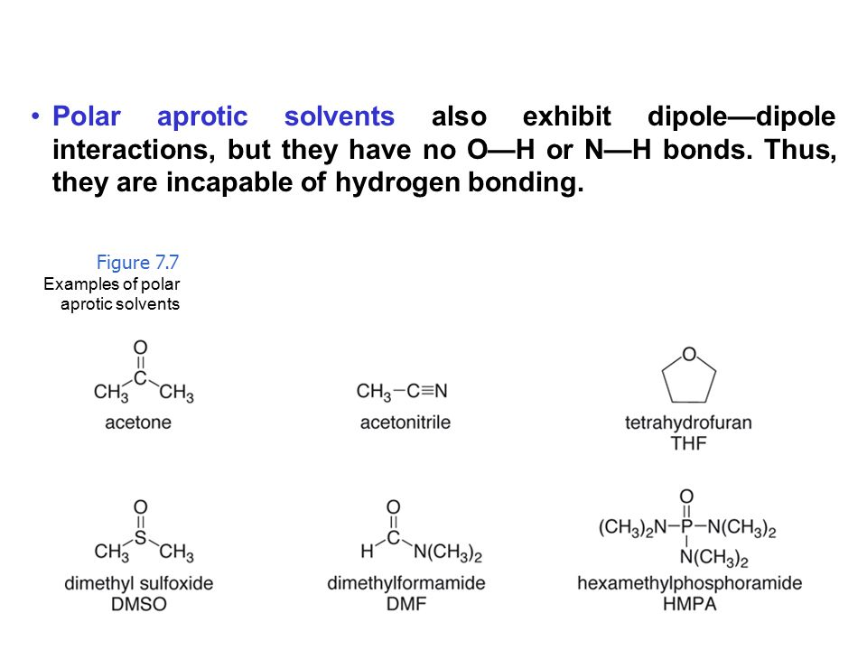 Polar aprotic solvents also exhibit dipole—dipole interactions, but they have no O—H or N—H bonds. Thus, they are incapable of hydrogen bonding.
