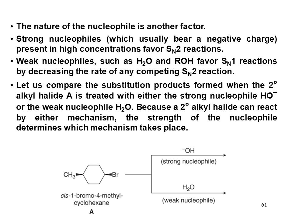 The nature of the nucleophile is another factor.