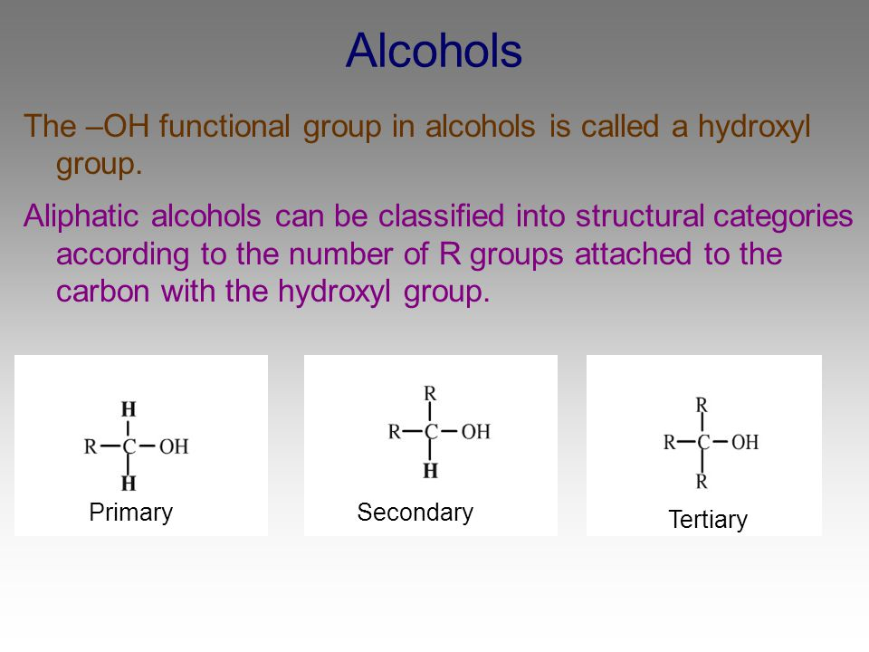 Alcohols The –OH functional group in alcohols is called a hydroxyl group.