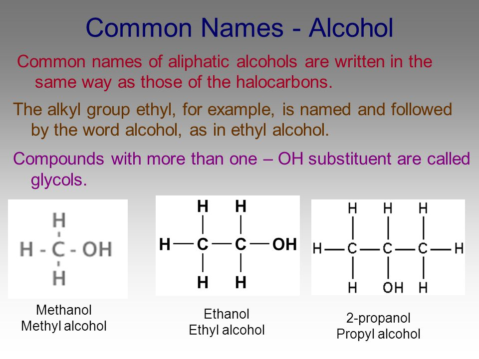 Common Names - Alcohol Common names of aliphatic alcohols are written in the same way as those of the halocarbons.