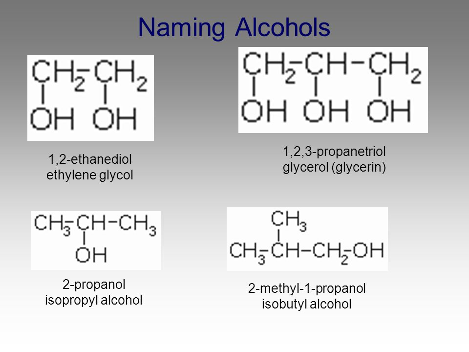 Naming Alcohols 1,2,3-propanetriol glycerol (glycerin)