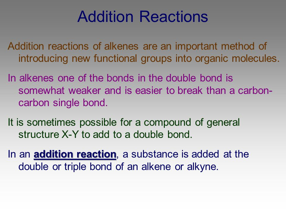 Addition Reactions Addition reactions of alkenes are an important method of introducing new functional groups into organic molecules.