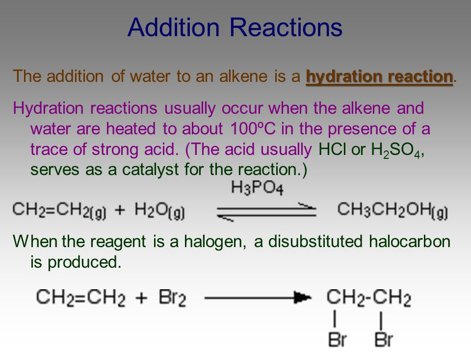 Addition Reactions The addition of water to an alkene is a hydration reaction.