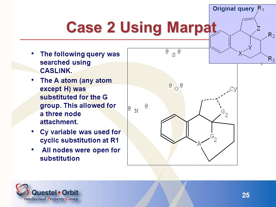 Case 2 Using Marpat The following query was searched using CASLINK.
